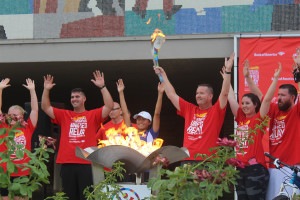 Jazmine Slama and other torch bearers celebrate the lighting of the Flame of Hope and Dixie State University, St. George, Utah, July 3, 2015   Photo by Nataly Burdick, St. George News