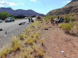 Two Washington City residents were injured in a head-on collision on SR-9 just outside of Zion National Park, Virgin, Utah, July 19, 2015 | Photo courtesy of Utah Highway Patrol, St. George News