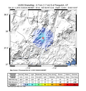 Areas that would have felt the earthquake centered in Panguitch, Panguitch, Utah, July 4, 2015 | Map courtesy of USGS, St. George News
