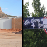 Left: Wall appears to be complete on July 4 surrounding the Leroy S. Johnson meeting house of the FLDS Church, built without explanation to the public during the week of July 1, some say in response to a Short Creek community 4th of July celebration. Right: Banner welcoming thousands to the community celebration of Independence Day. Colorado City, Arizona, July 4, 2015 | Photos by Nataly Burdick, St. George News