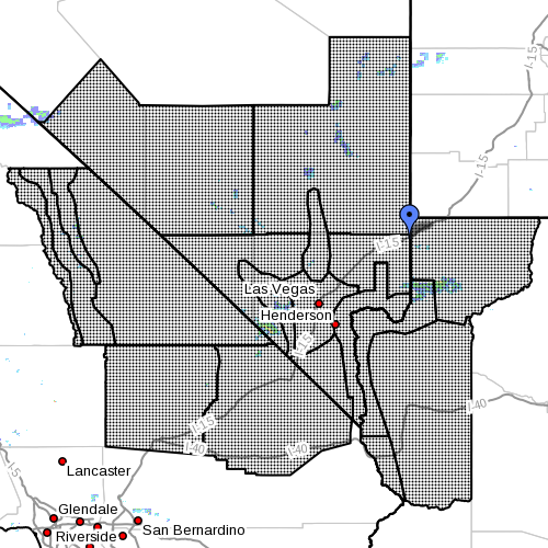 Dots indicate the area subject to the flood watch, 8:15 a.m., July 31, 2015   Photo courtesy of National Weather Service, St. George News   Click image to enlarge