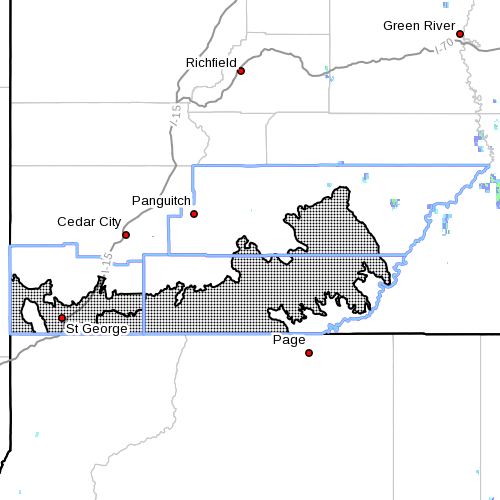 Dots indicate the area subject to the flood watch,10:40 a.m., July 18, 2015 | Photo courtesy of National Weather Service, St. George News | Click image to enlarge