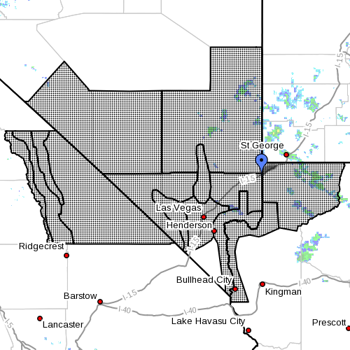 """Dots indicate the area subject to """"Flash Flood Watch"""" at 6:50 a.m., July 7, 2015 