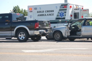 An accident on Dixie Drive at Sunset Blvd. sent one to the hospital, August 14, 2015 | Photo by Hollie Reina, St. George News