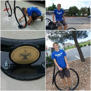 A composite of pictures of George Wells and some of the bike stands he donated to St. George, St. George, Utah, July 31, 2015 | Photo courtesy of City of St. George, St. George News