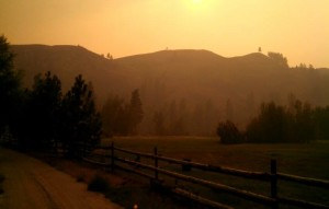 A ranch on Washington state Route 20 which is near Paul Louscher's house in Twisp and burned in the Wednesday night blaze, I should be pretty safe, Twisp, Washington, August 24, 2015 | Photo courtesy of Paul Louscher, St. George News