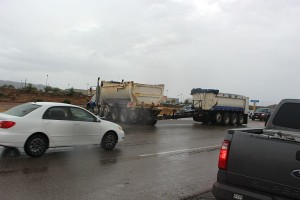 A semi-trailer jackknifed on SR-9 Friday, slowing traffic for over an hour, Hurricane, Utah, August 7, 2015 | Photo by Ric Wayman, St. George News