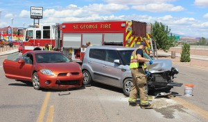 An accident on Histon Drive sent one person to the hospital, St. George, Utah. August 12, 2015 | Photo by Ric Wayman, St. George News