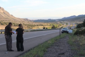 A Northern Utah woman escaped injury when her cell phone distracted her driving Sunday on I-15, Washington County, Utah, August 16, 2015 | Photo by Ric Wayman, St. George News