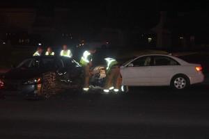 A nighttime accident on Sunset Boulevard blocked westbound traffic but resulted in no injuries, St. George, Utah, August 20, 2015 | Photo by Ric Wayman, St. George News