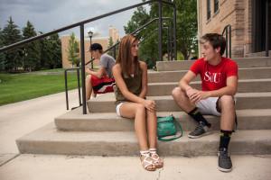 Southern Utah University students talk on the steps, Cedar City, Utah, date unspecified | Photo courtesy of SUU Marketing Communication, St. George News