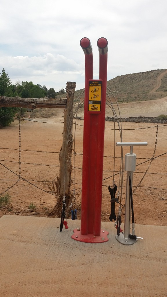 "A bicycle fix-it station, called a ""fixtation,"" installed at the Bear Claw Poppy Trailhead at the end of Navajo Drive in the Bloomington neighborhood of St. George. Ryan Jensen raised funds put in the work to install the station as part of his Eagle Scout Project. St. George, Utah, April 23, 2015 