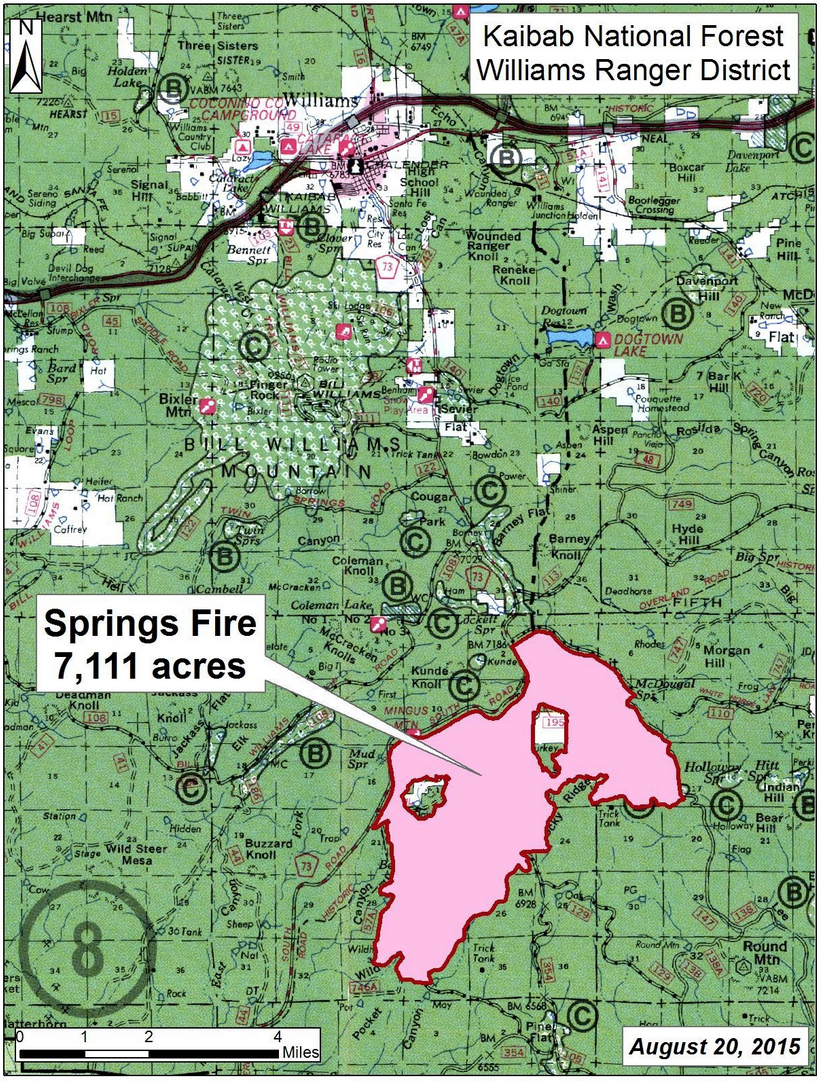 Final perimeter map of the Springs Fire in Kaibab National Forest, near Williams, Arizona, Aug. 20, 2015 | Map courtesy of Kaibab National Forest, St. George News | Click on image to enlarge