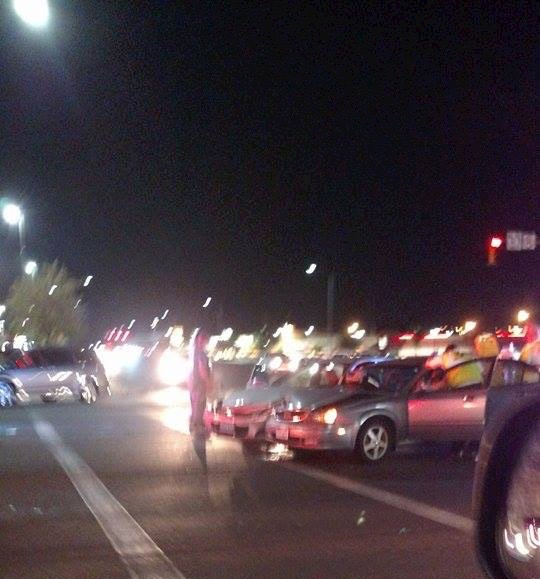 An evening accident at Green Springs and Telegraph damaged two cars, Washington, Utah, August 28, 2015 | Photo courtesy of Ashley Nisson, St. George News