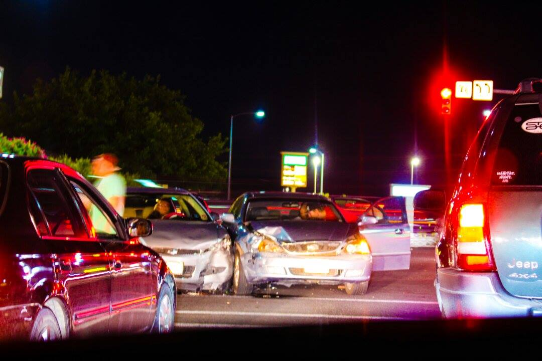 An evening accident at Green Springs and Telegraph damaged two cars, Washington, Utah, August 28, 2015 | Photo courtesy of Jafid Garcia, St. George News
