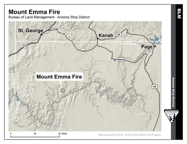 The Mt. Emma fire located 75 miles southeast of St. George, sized at 4,200 acres in early July, has had no smoke visible for over a week, as of Aug. 10, and fire managers are now just monitoring it. | Map courtesy of BLM-Arizona Strip Field Office, St. George News