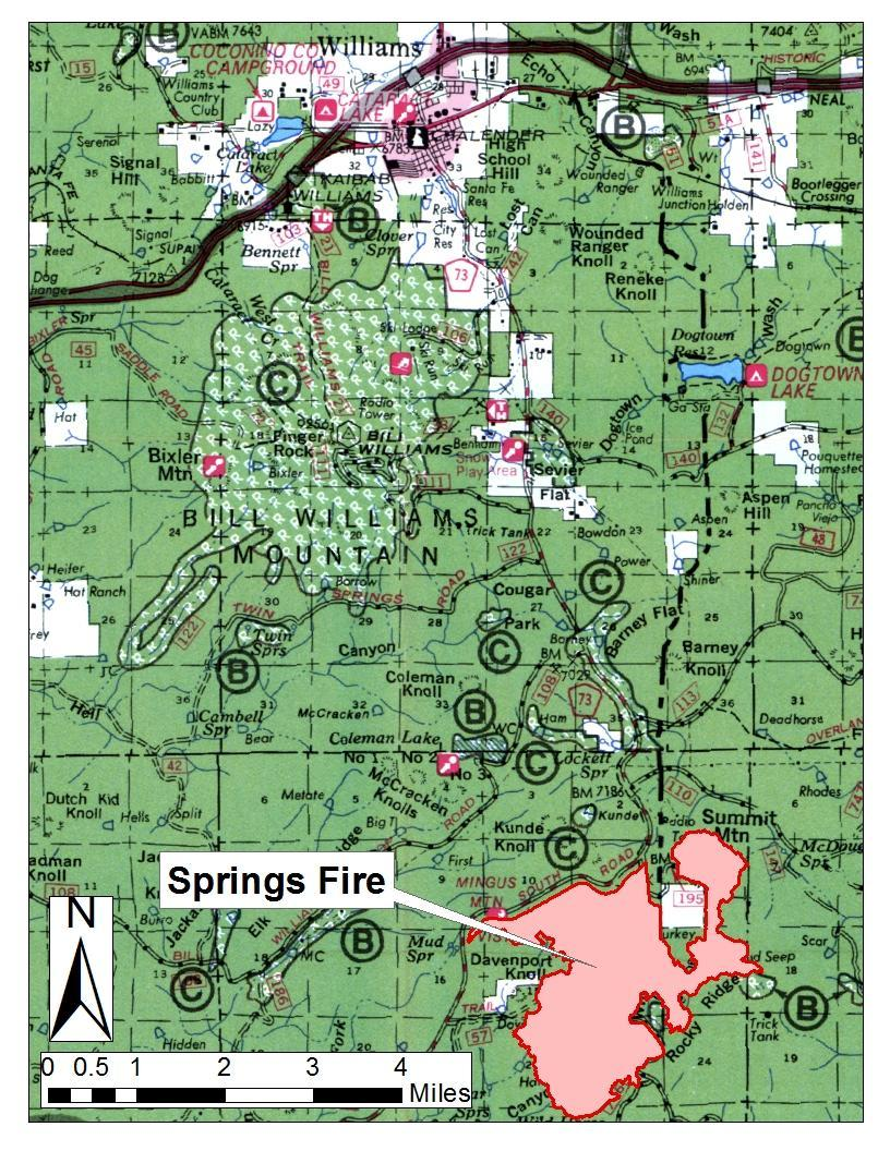 Springs Fire. Map shows perimeter in Williams, Arizona, Aug. 2, 2015   Map courtesy of USDA Forest Service, Kaibab National Forest - South Zone; St. George News