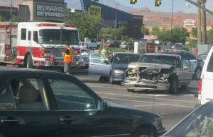 An afternoon accident at Green Springs and Telegraph damaged three cars, Washington, Utah, August 28, 2015 | Photo by Ric Wayman, St. George News
