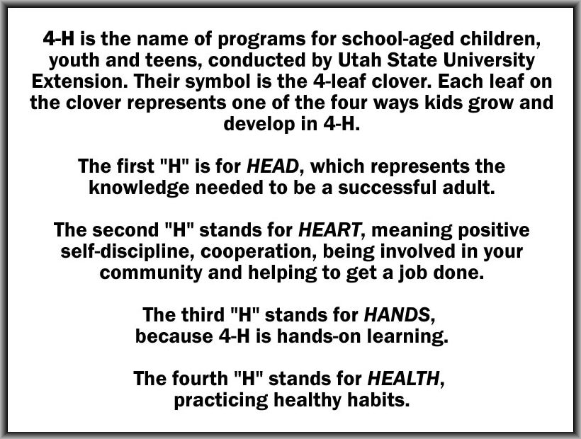 "From ""What is 4-H"" on the University of Utah Extension website 