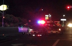 An evening accident at Green Springs and Telegraph damaged two cars, Washington, Utah, August 28, 2015 | Photo courtesy of Brittany Chubbick, St. George News