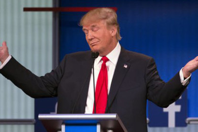 Republican presidential candidate Donald Trump gestures during the first Republican presidential debate at the Quicken Loans Arena, Cleveland, Aug. 6, 2015 | AP Photo by John Minchillo, St. George News