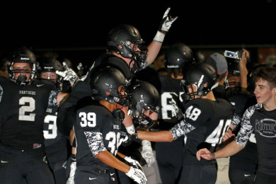 The Panthers celebrate their double over time victory over Judge Memorial, Pine View vs. Judge Memorial, Football, St. George, Utah, Aug. 21, 2015, | Photo by Robert Hoppie, ASPpix.com, St. George News