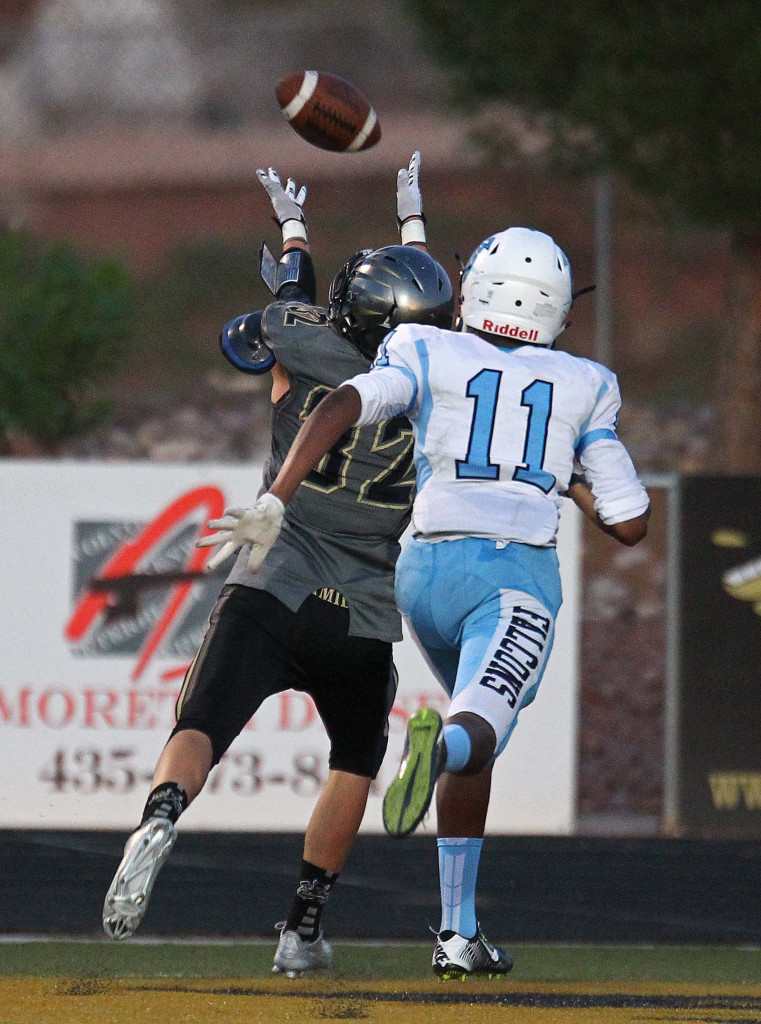 Zak Fuchs catches a deep pass for a touchdown, Desert Hills vs. Foothill Nev., Football, St. George, Utah, Aug. 28, 2015, | Photo by Robert Hoppie, ASPpix.com, St. George News
