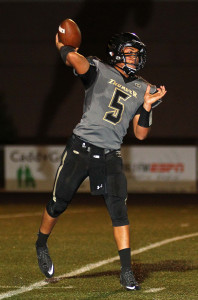 Nick Warmly (5) makes a pass for the Thunder, Desert Hills vs. Foothill Nev., Football, St. George, Utah, Aug. 28, 2015, | Photo by Robert Hoppie, ASPpix.com, St. George News