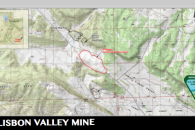 Composite shows location of proposed Centennial Pit boundary, Lisbon Valley Mining Company, La Sal, Utah, Map dated March 8, 2014, included as one of several appendices to Environmental Assessment  DOI-BLM-UT-Y010-2014-0018EA  | Map courtesy of Bureau of Land Management, St. George News