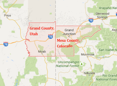 Map shows neighboring Grand and Mesa counties at the Utah-Colorado border | Map composite derived from Google Maps; St. George News