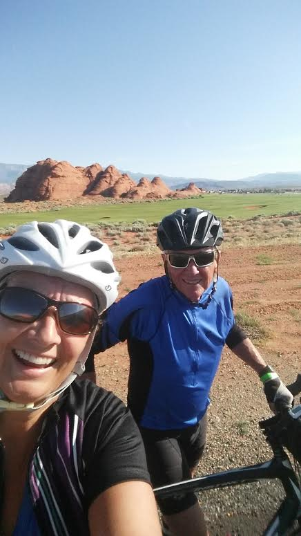 Carol and Bob Hollowell on a bike ride, preparing for their cross-country ride aimed at breaking the cycle of homelessness. Southern Utah, circa Summer 2015   Photo courtesy of Carol Hollowell, St. George News