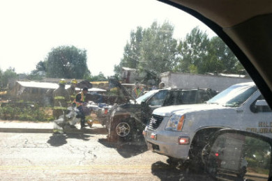 One person was transported to the hospital after a Jeep Cherokee rear-ended a Ford van, Colorado City, Arizona, Aug. 3, 2015 | Photo courtesy of Jesseca Jessop