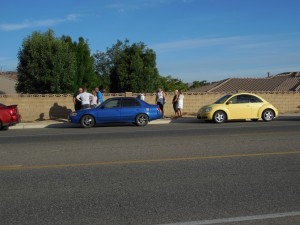 Seven cars were involved in three separate rear-end collisions in quick succession on River Road Monday morning, St. George, Utah, August 17, 2015 | Photo by Julie Applegate, St. George News