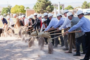 Officials and invited guests ceremonially break ground for the new Campus View Suites housing project at Dixie State University, St. George, Utah, Aug. 28, 2015 | Photo courtesy of Dixie State University, St. George News