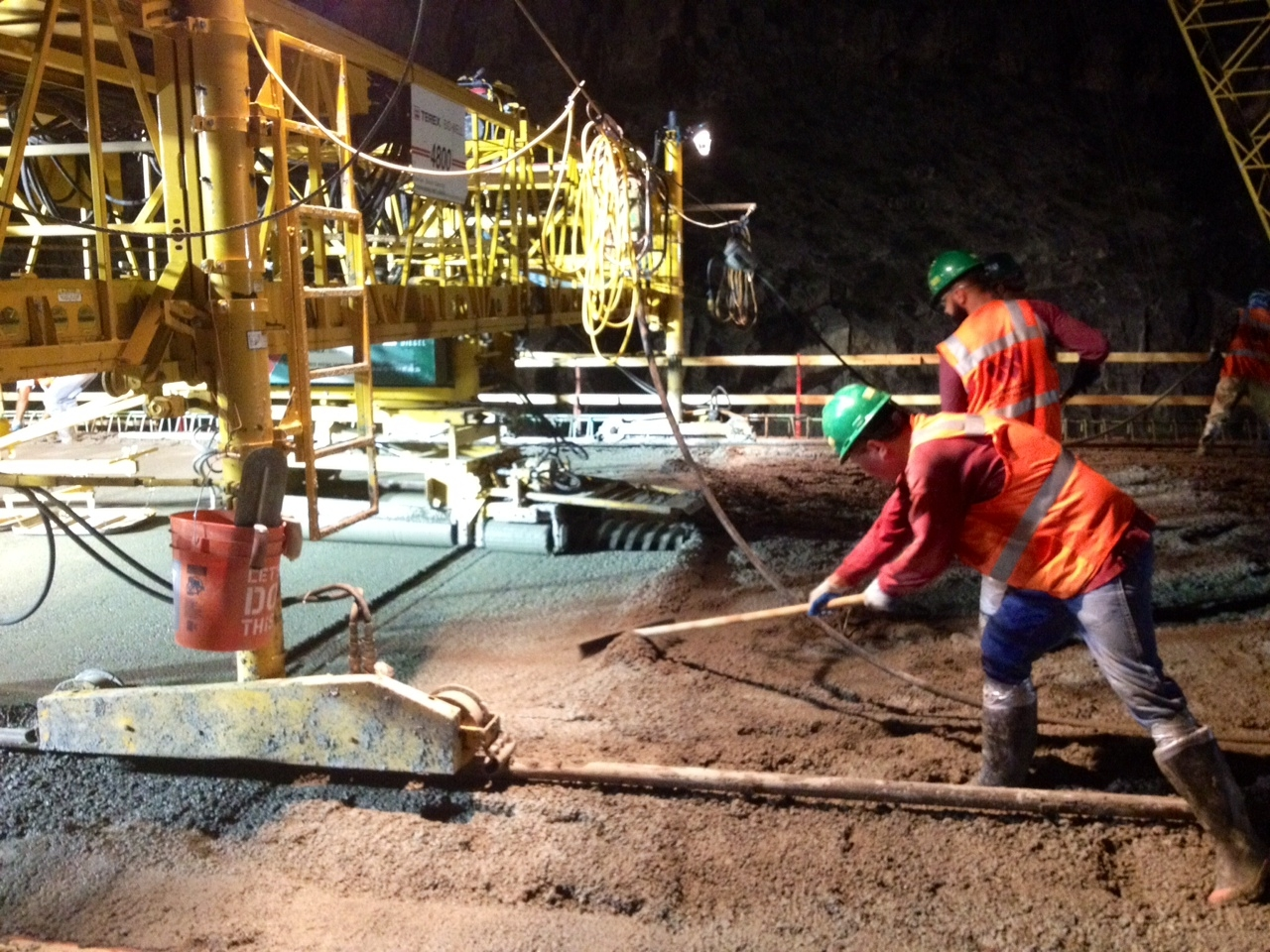 This June 2, 2015, photo shows ADOT workers doing the concrete deck pour on the Interstate 15 Virgin River Bridge No. 6, Virgin River Gorge, Arizona, June 2, 2015   Photo courtesy of ADOT, St. George News