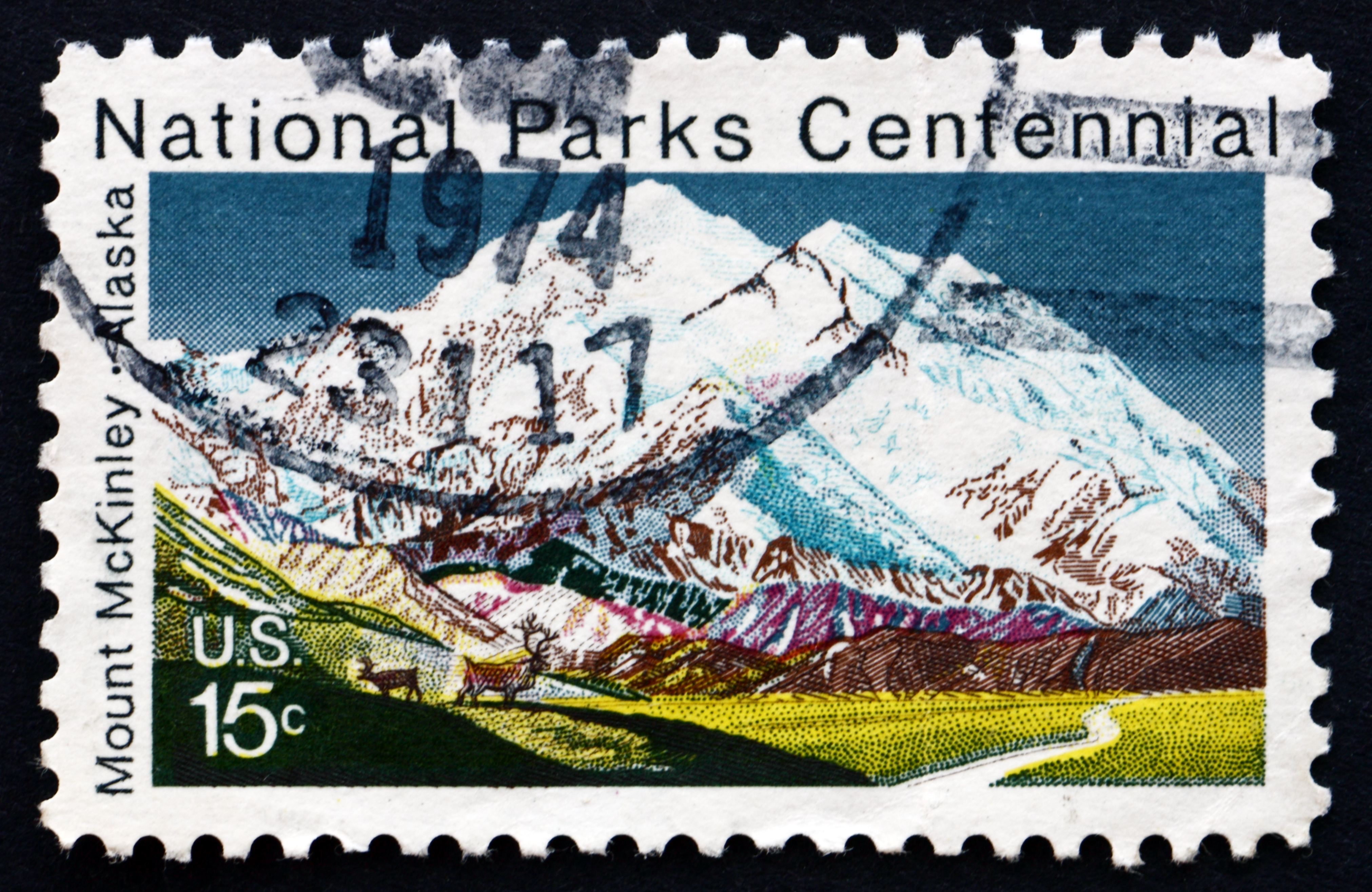 UNITED STATES OF AMERICA - CIRCA 1972: a stamp printed in the USA shows Mt. McKinley, Alaska, Centenary of the National Park System, circa 1972 | Stock photo, St. George News