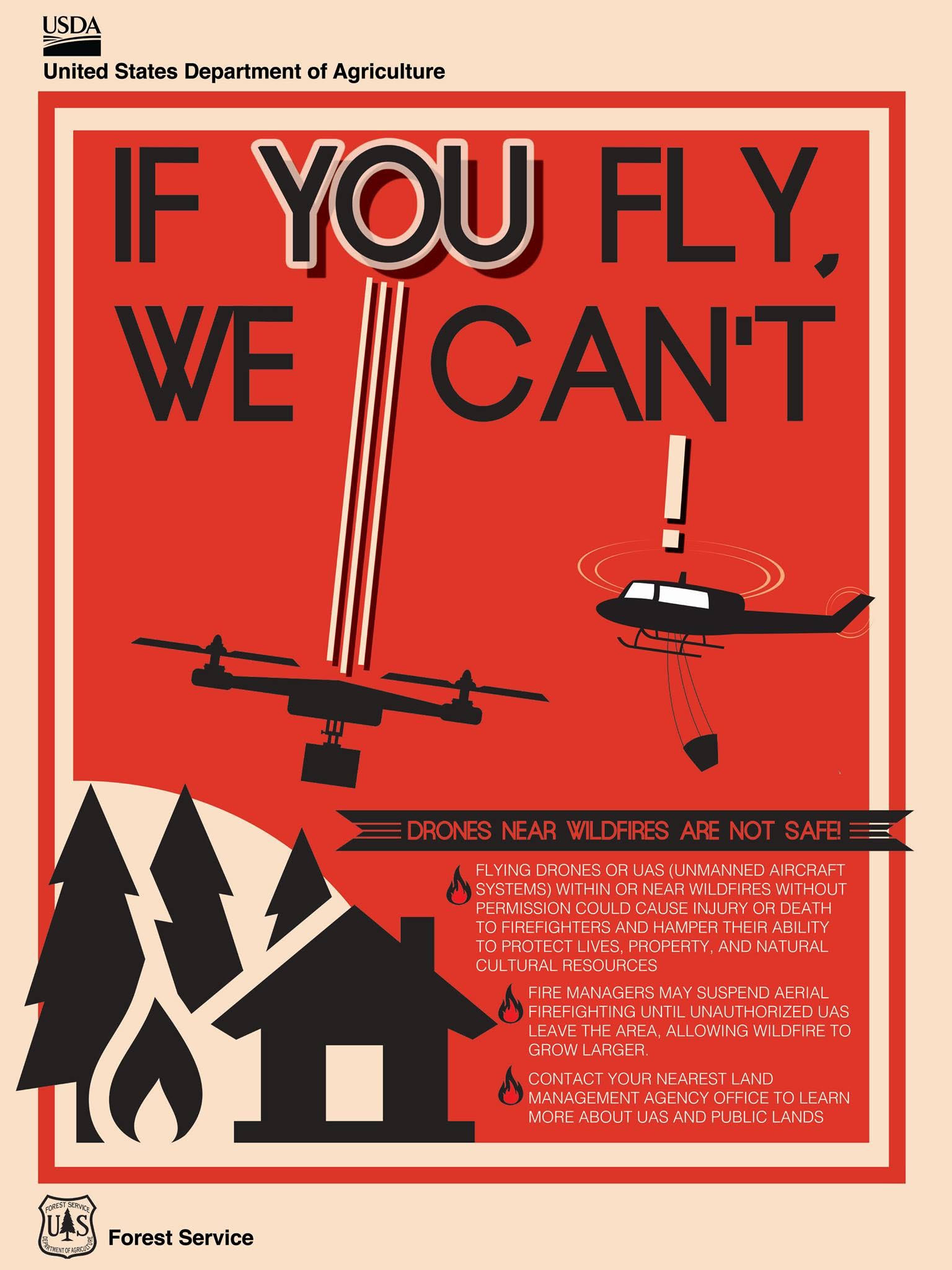 Flying drones near wildfires are not safe | Flyer courtesy of United States Department of Agriculture, St. George News | Click on flyer to enlarge