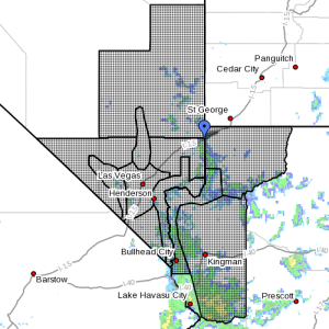 Dots indicate the area subject to the flood watch, Aug.,1, 2015 | Photo courtesy of National Weather Service, St. George News | Click image to enlarge