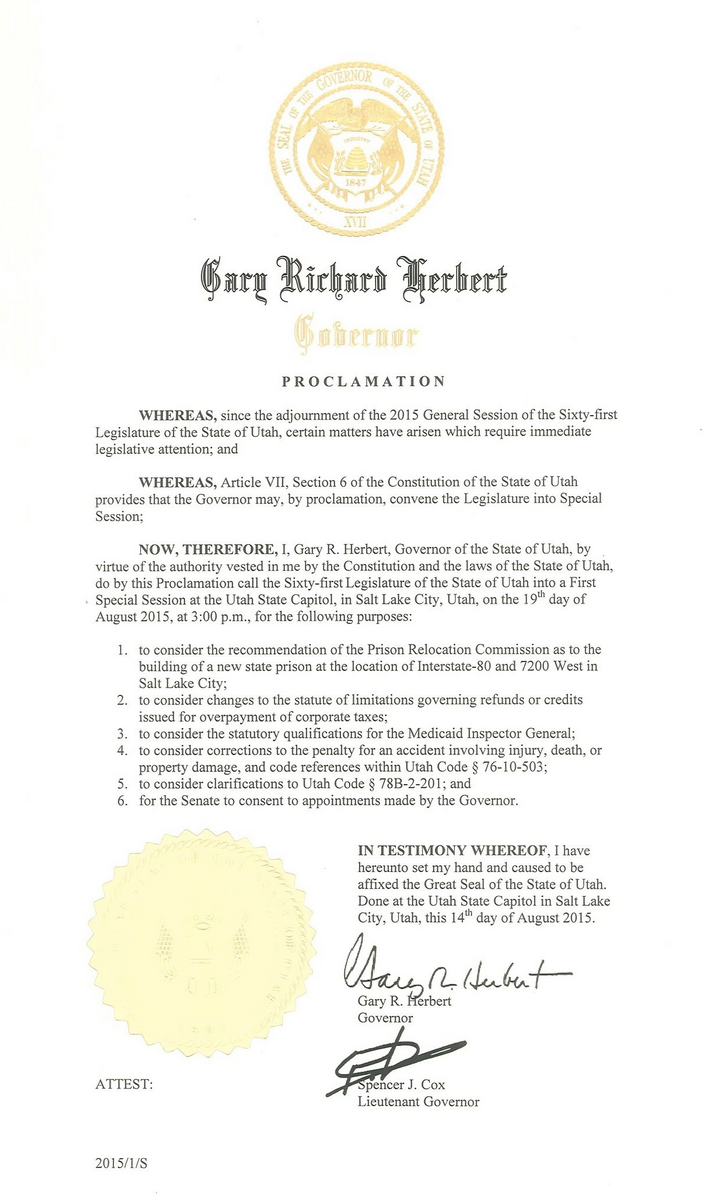 Copy of Gov. Gary Herbert's letter calling for the first special session of the Utah Legislature 2015 | Letter courtesy of the office of Gov. Gary Herbert, St. George News | Click on image to enlarge
