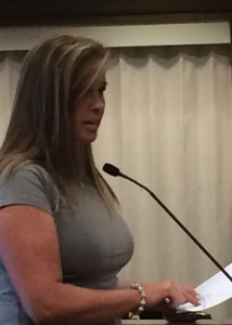 Mari Blazzard presents the parks and recreation recommendations for the RAP tax funds, Cedar City Council Chambers, Cedar City, Utah, August 20, 2015 | Photo by Carin Miller, St. George News
