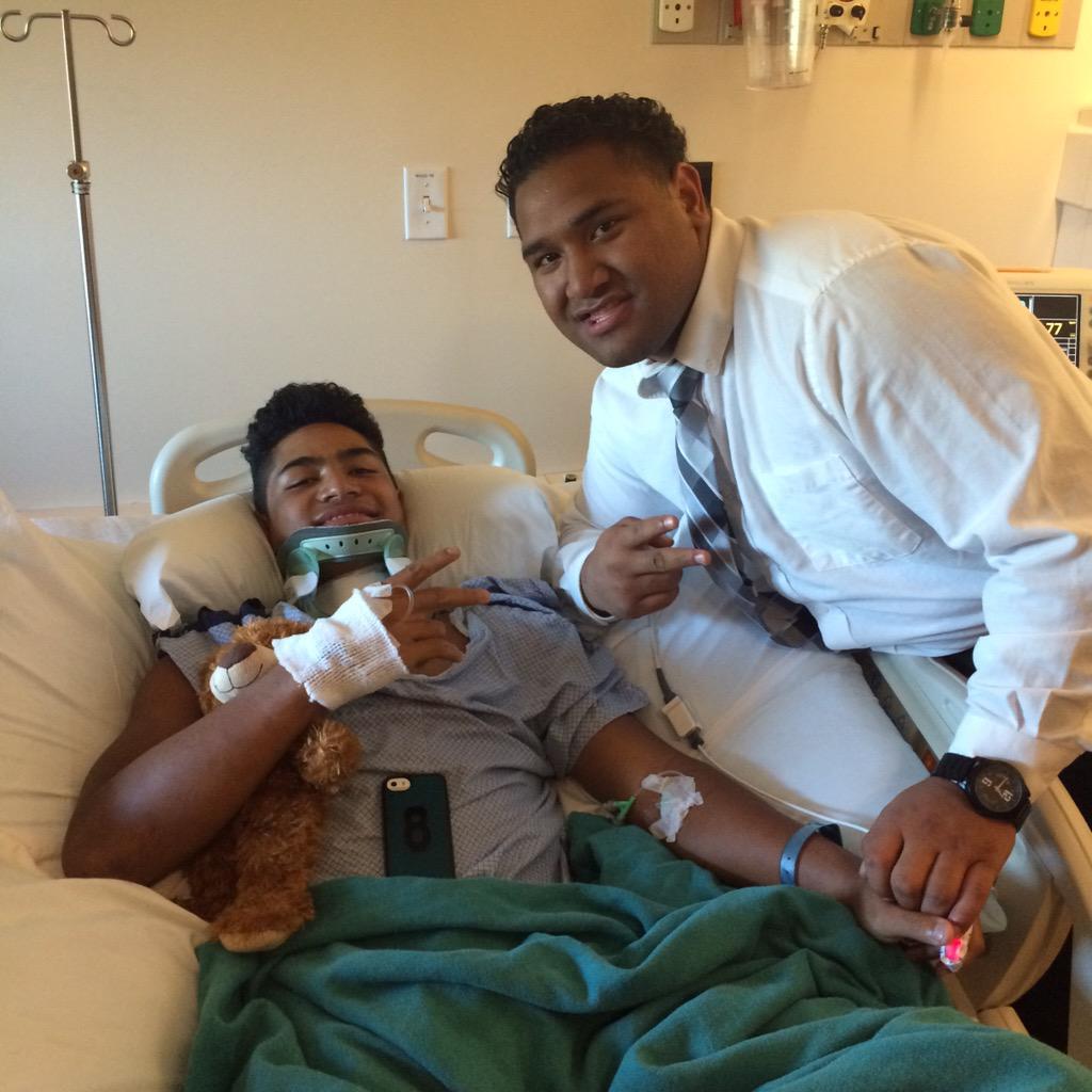 Pano Tiatia poses with Nephi Sewell at Dixie Regional Medical Center, St. George, Utah, Aug. 23, 2015   Photo courtesy Pano Tiatia