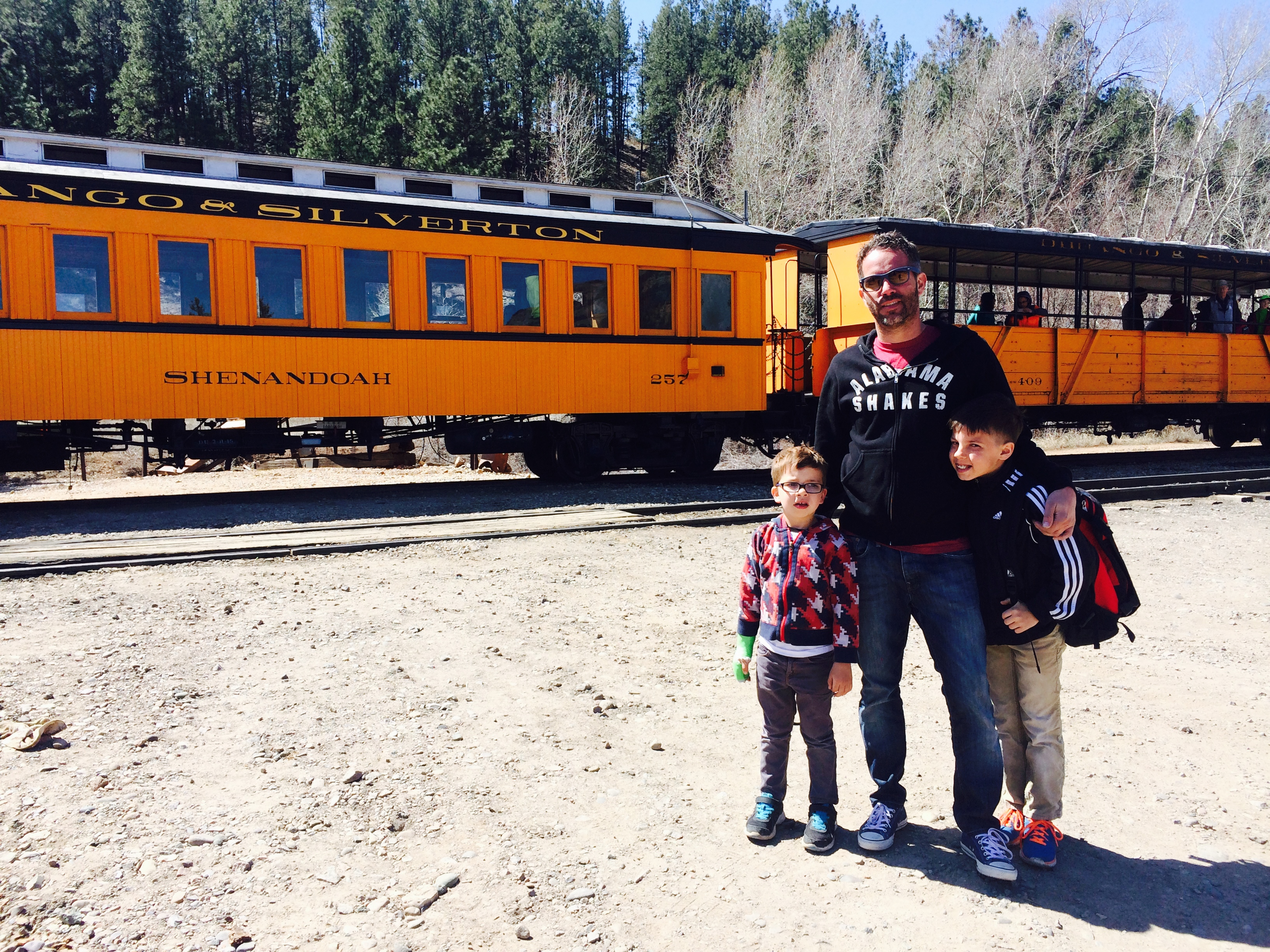 Alan Dayton and two of the Daytons' sons pose after disembarking the Silverton Train.  Somewhere outside of Durango, Colorado. April 2015 | Photo by Kat Dayton, St. George News