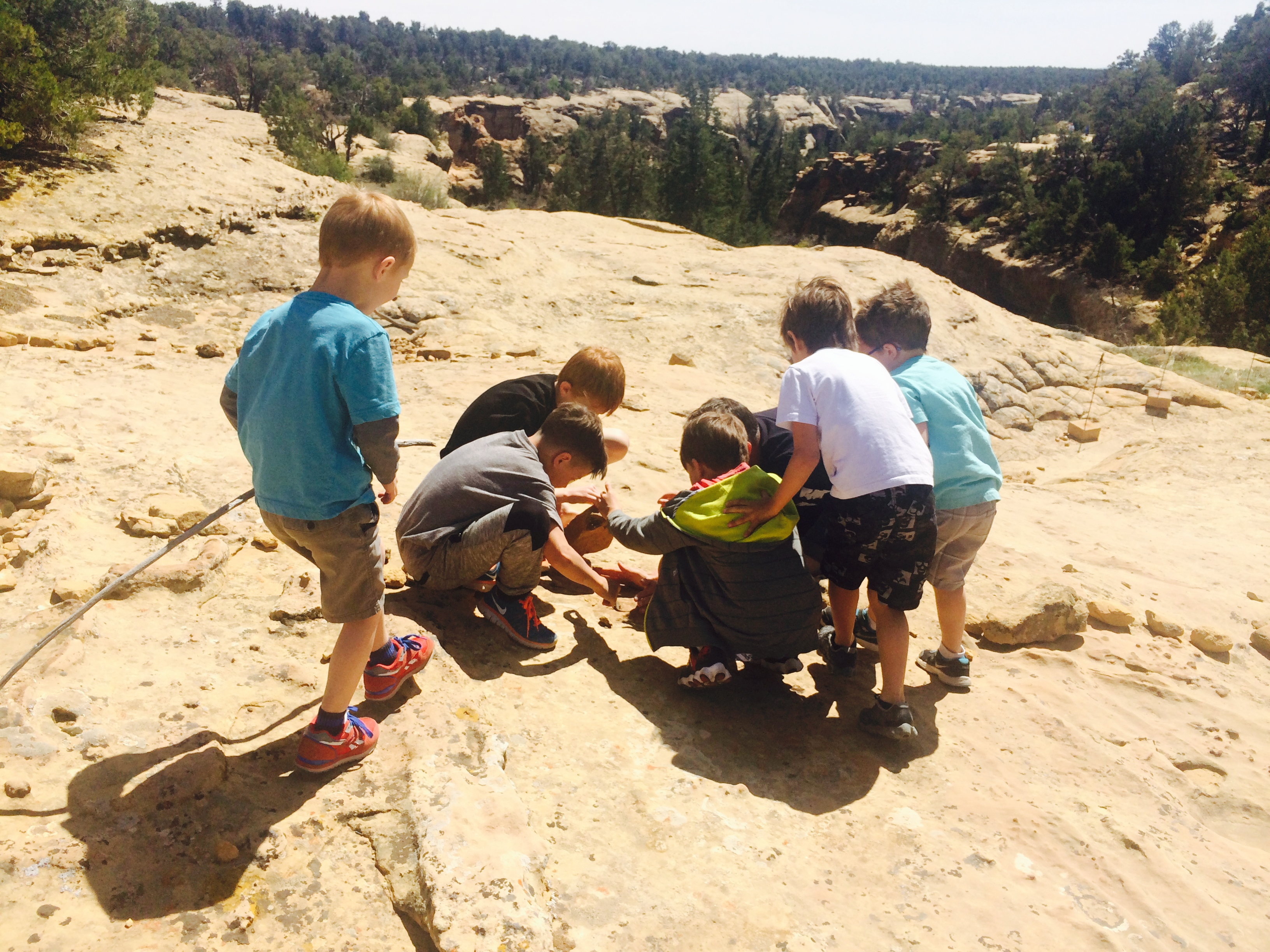 Alan Dayton with his sons and those of family friends catch lizards on the rocks near Spruce Tree House, Mesa Verde, Colorado.  April 2015 | Photo by Kat Dayton, St. George News