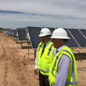 Governor Gary Herbert chats with another visitor to the Utah Red Hills Renewable Park, Parowan, Utah, August 7, 2015 | Photo courtesy of Utah State Governor's Office, St. George News