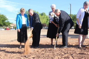 LDS church leaders take part in the groundbreaking ceremony for a new family research center in St. George, Utah, Aug. 18, 2015 | Photo by JJ DeForest, St. George News