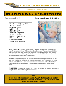Missing Person Poster – Jerold Joseph Williams went missing in the area of the Kaibab National Forest, August 6, 2015. CONTACT Coconino County Sheriff's Office 928-774-4523 | Photos courtesy of the North Kaibab Ranger District, St. George News | Click on image to enlarge