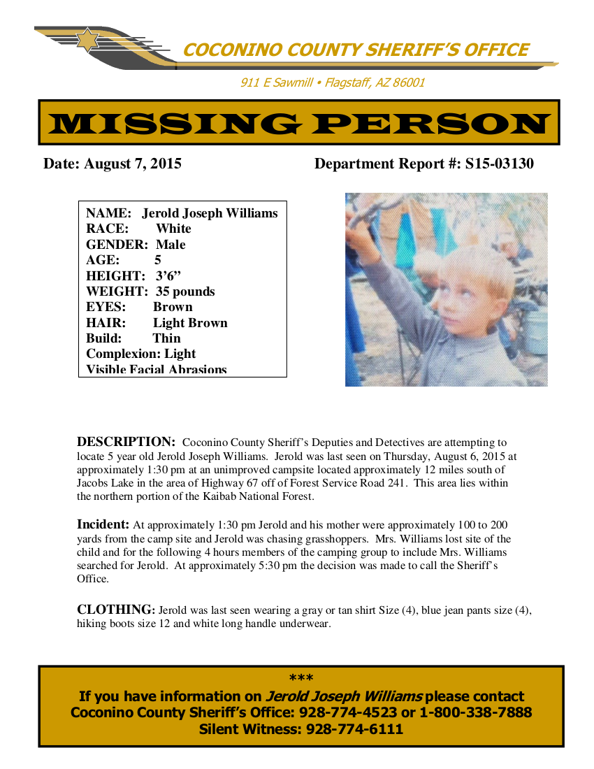 Missing Person Poster U2013 Jerold Joseph Williams Went Missing In The Area Of  The Kaibab National  Missing Person Posters
