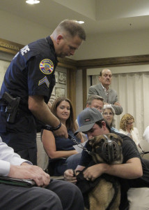 CCPD K-9 Paco receives his first bulletproof vest,  Cedar City Council Chambers, Cedar City, Utah, August 12, 2015 | Photo by Carin Miller, St. George News