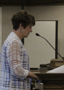 Joanne Brattain presents arts portion of the RAP tax recommendations to council for consideration, Cedar City Council Chambers, Cedar City, Utah, August 20, 2015 | Photo by Carin Miller, St. George News