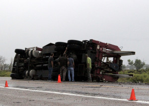Well service truck on it's side, Minersville Highway and Midvalley Rd., Enoch, Utah, August 26, 2015   Photo by Carin Miller, St. George News